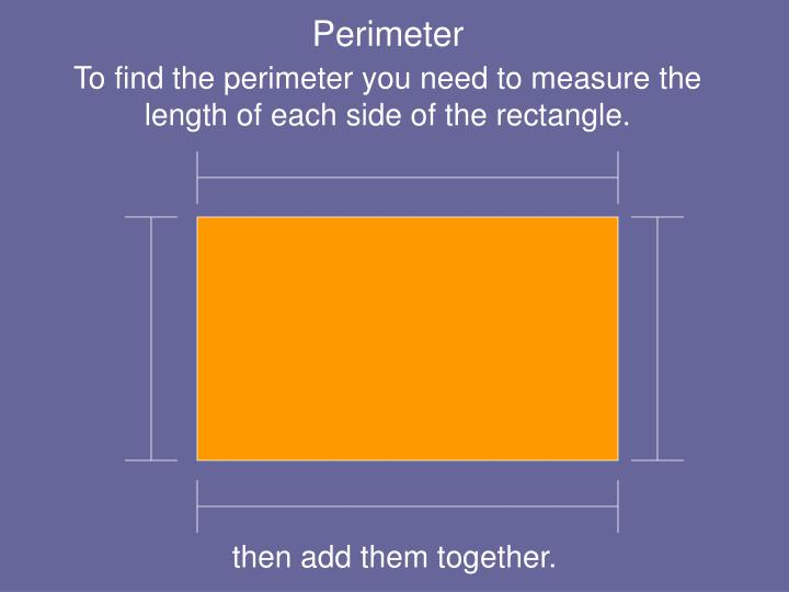To find the perimeter you need to measure the length of each side of the rectangle.