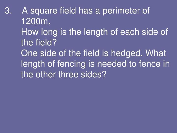 3.    A square field has a perimeter of 1200m.