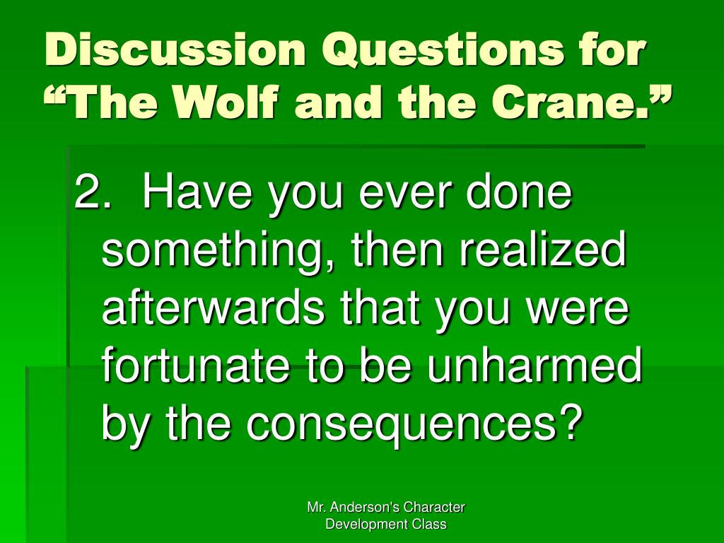 """Discussion Questions for """"The Wolf and the Crane."""""""