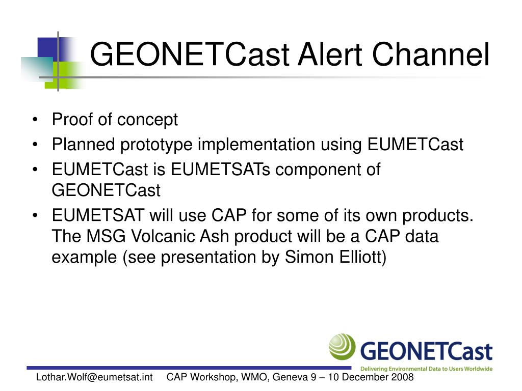 GEONETCast Alert Channel