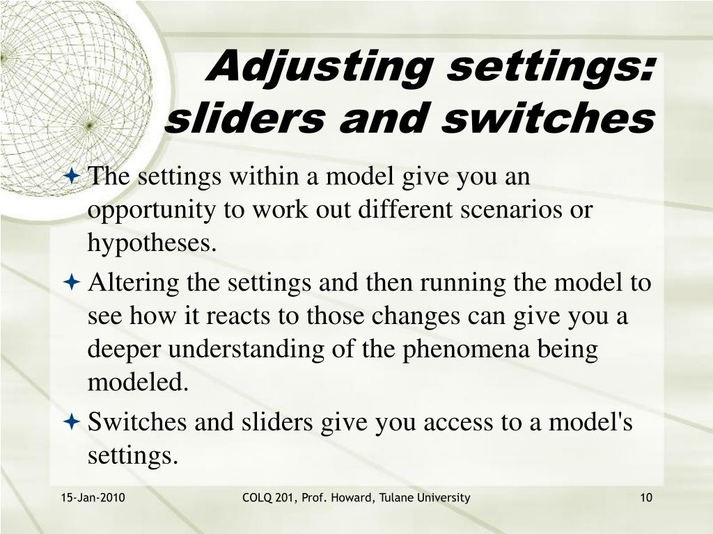 Adjusting settings: sliders and switches