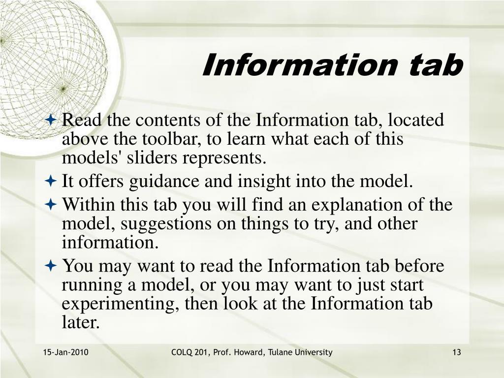 Information tab