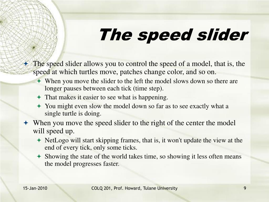 The speed slider