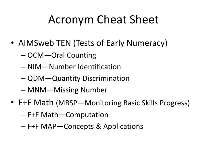 Acronym Cheat Sheet