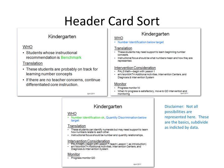 Header Card Sort