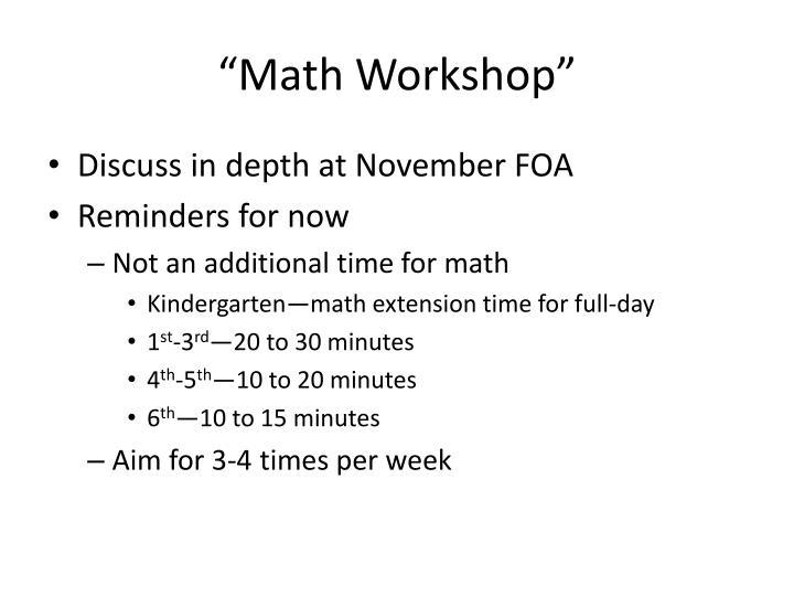 """Math Workshop"""