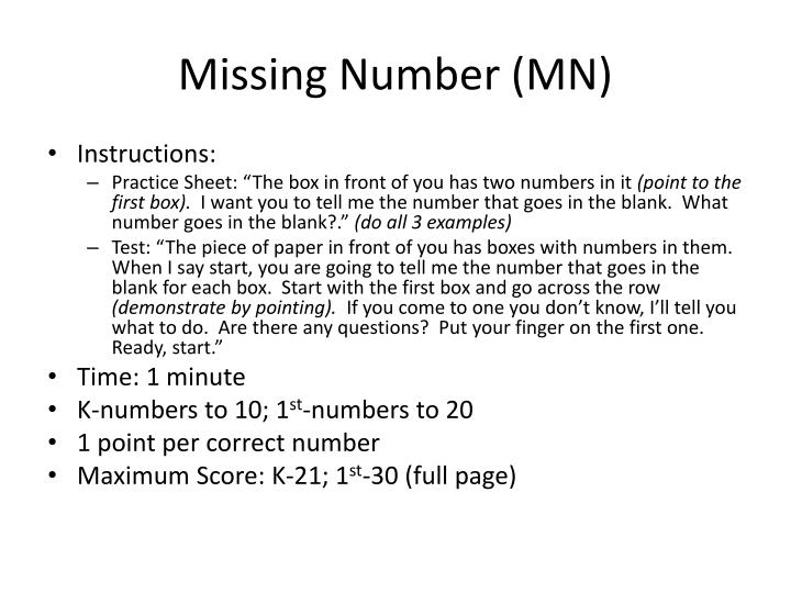 Missing Number (MN)
