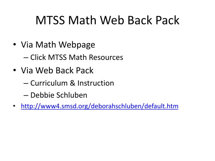 MTSS Math Web Back Pack