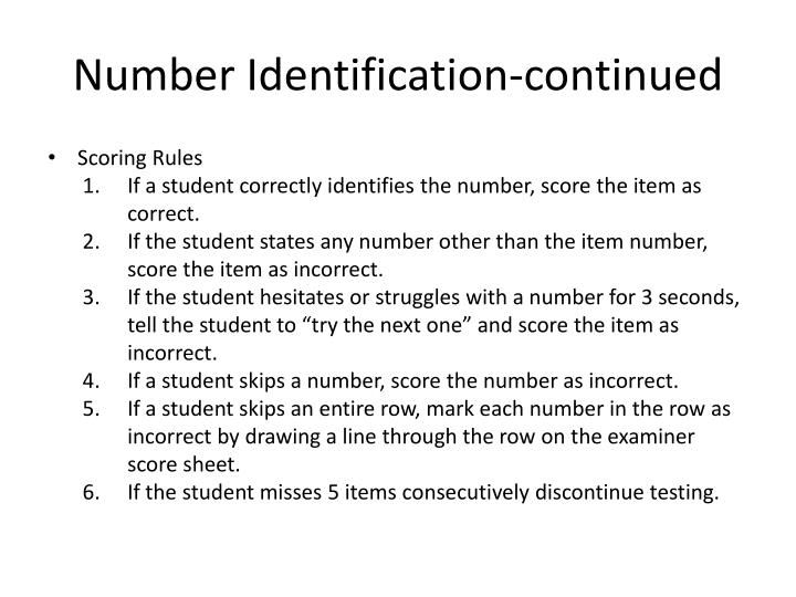 Number Identification-continued