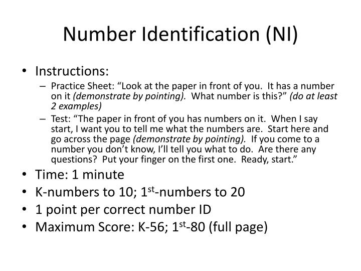 Number Identification (NI)