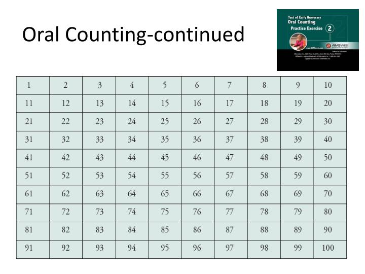 Oral Counting-continued