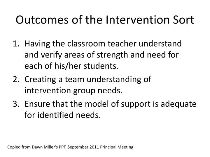Outcomes of the Intervention Sort