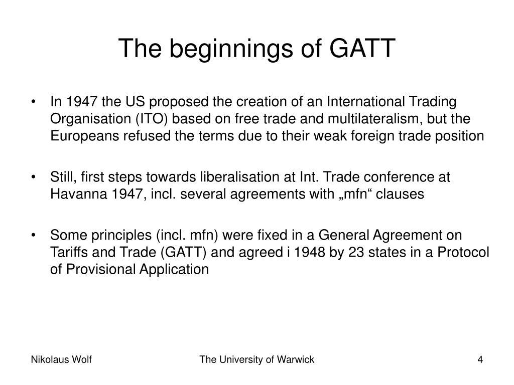 The beginnings of GATT