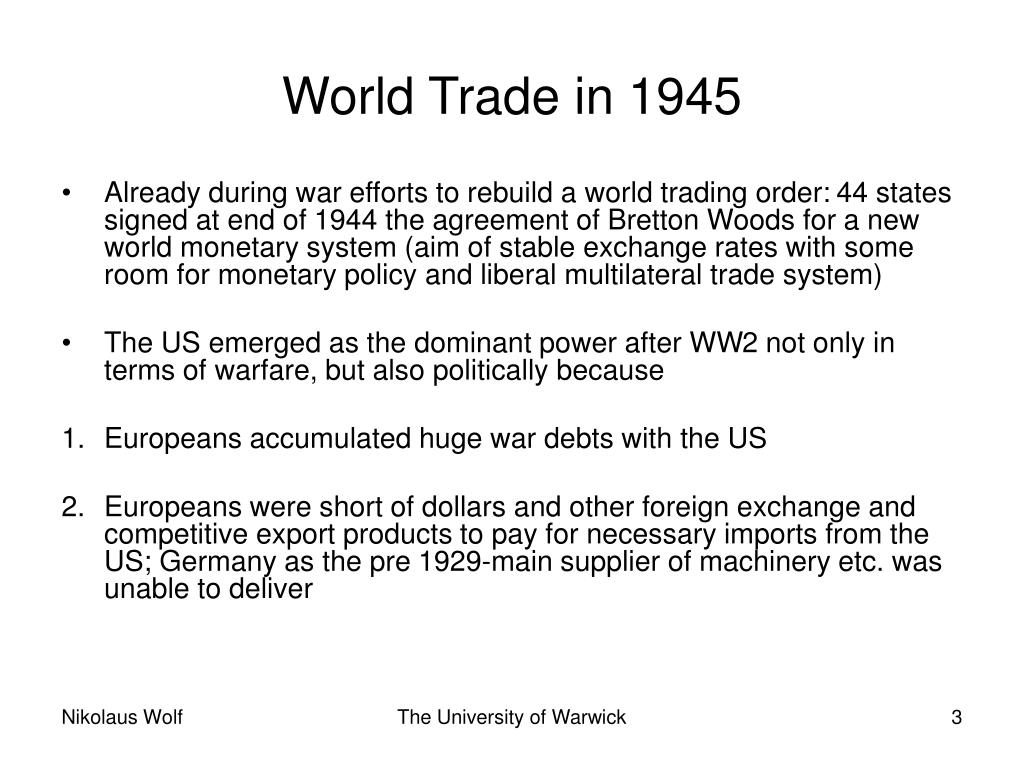 World Trade in 1945