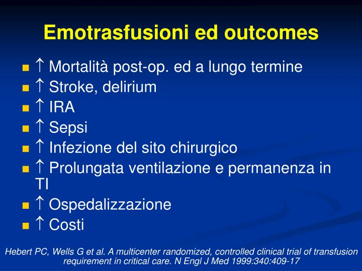 Emotrasfusioni ed outcomes