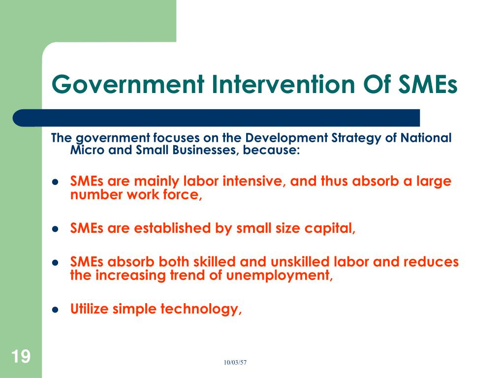 Government Intervention Of SMEs