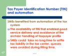 tax payer identification number tin and automation
