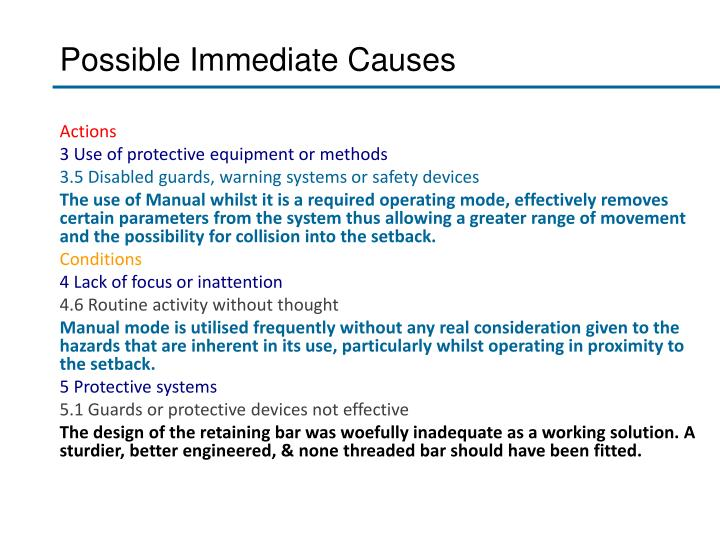 Possible Immediate Causes