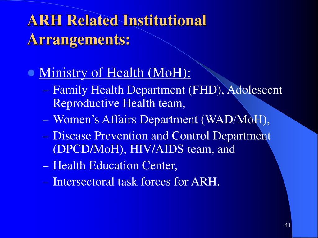 ARH Related Institutional Arrangements: