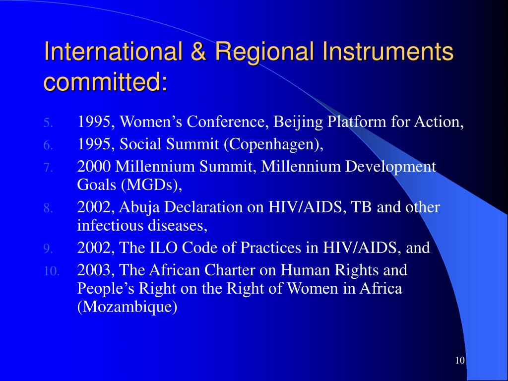 International & Regional Instruments committed: