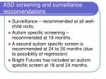 asd screening and surveillance reccomendations