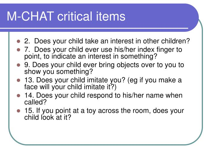 M-CHAT critical items