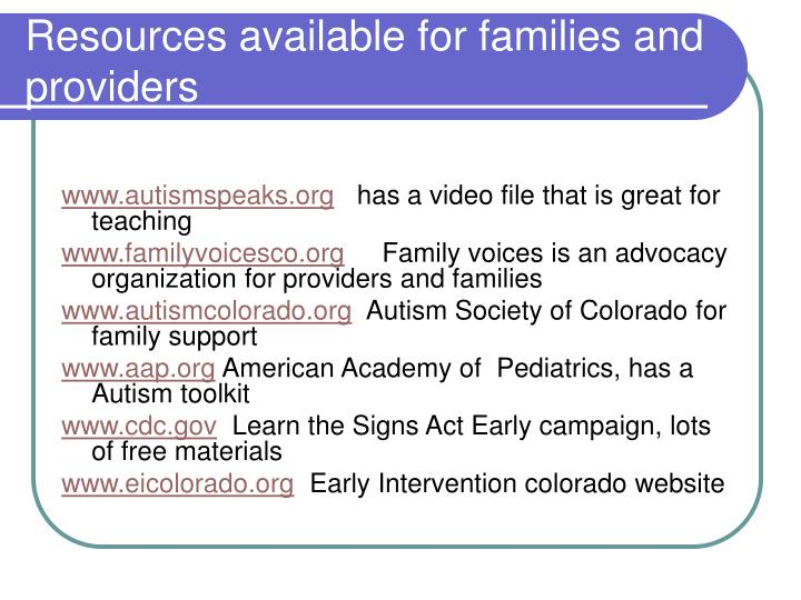 Resources available for families and providers