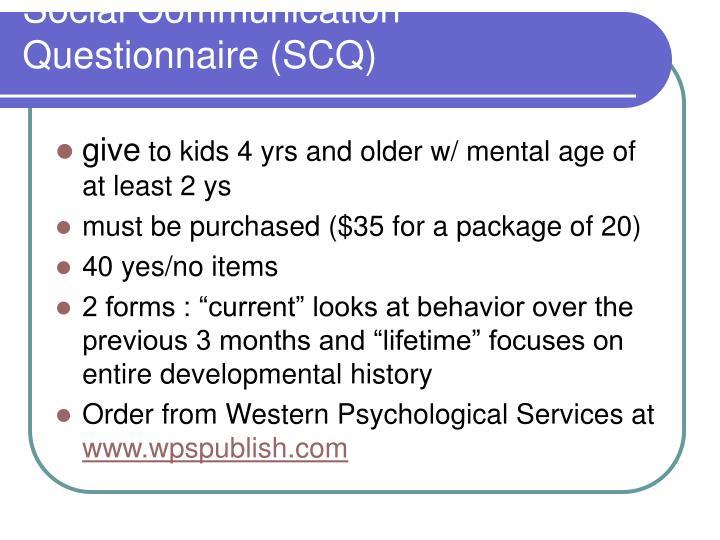 Social Communication Questionnaire (SCQ)