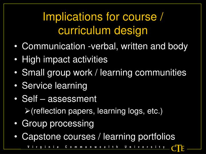 Implications for course / curriculum design