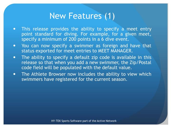 New Features (1)