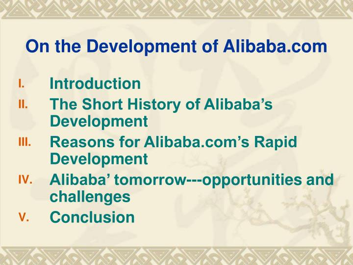 On the development of alibaba com1
