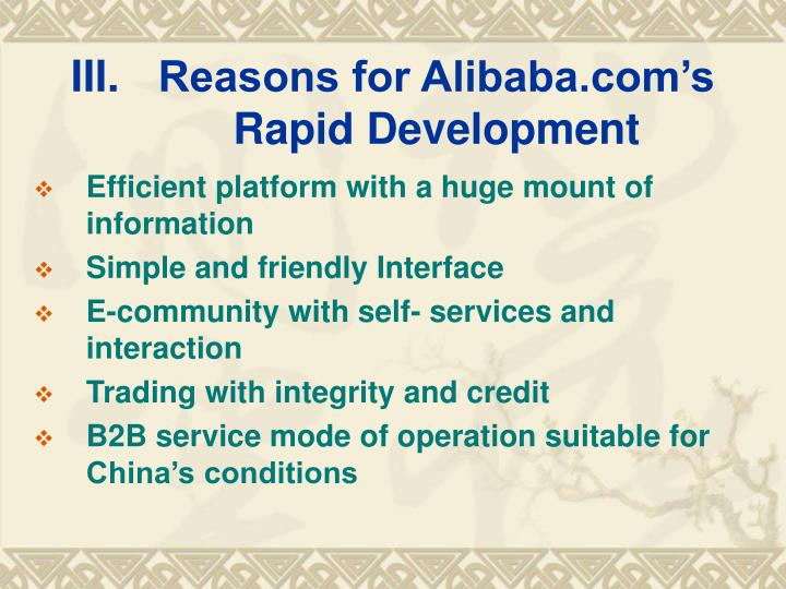 Reasons for Alibaba.com's Rapid Development
