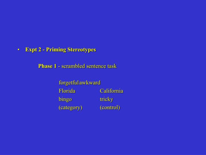Expt 2 - Priming Stereotypes