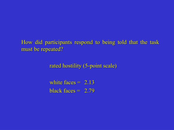 How did participants respond to being told that the task must be repeated?