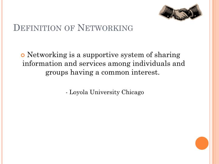 Definition of networking