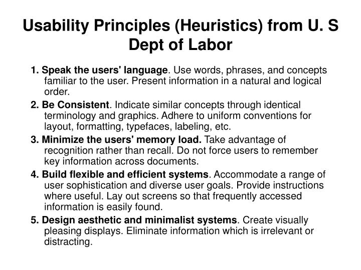 Usability Principles (Heuristics) from U. S Dept of Labor