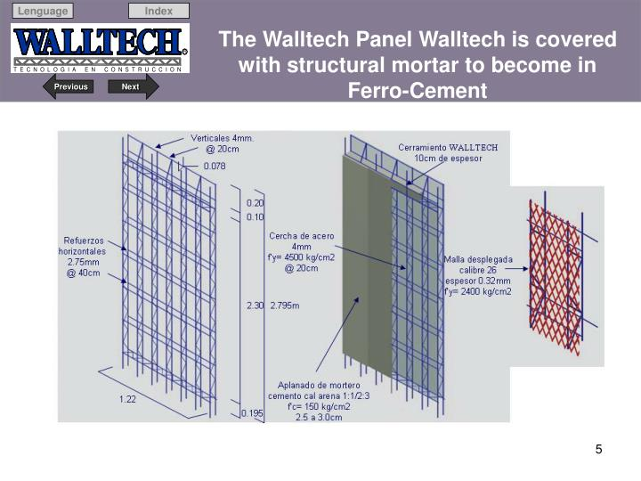 The Walltech Panel Walltech is covered with structural mortar to become in   Ferro-Cement
