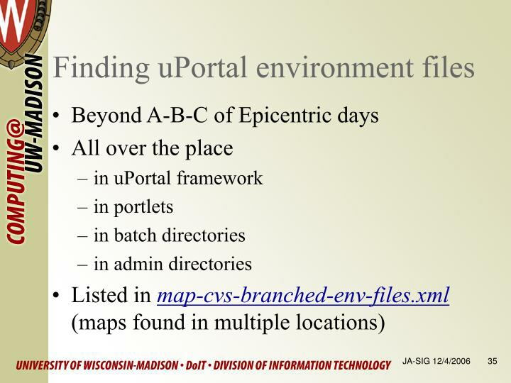 Finding uPortal environment files
