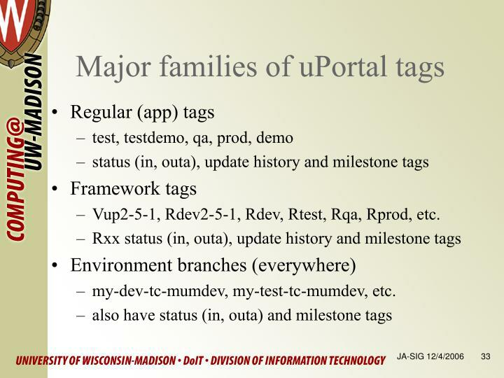 Major families of uPortal tags
