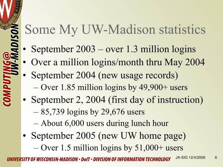 Some My UW-Madison statistics