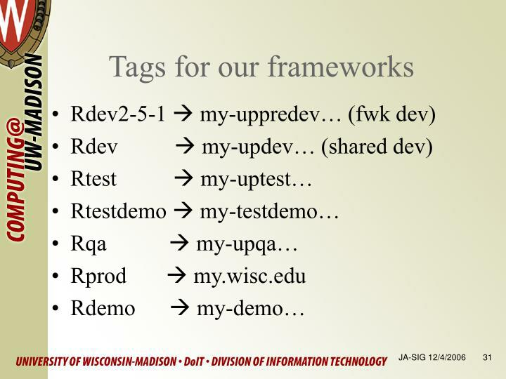 Tags for our frameworks