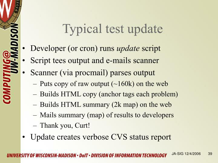 Typical test update