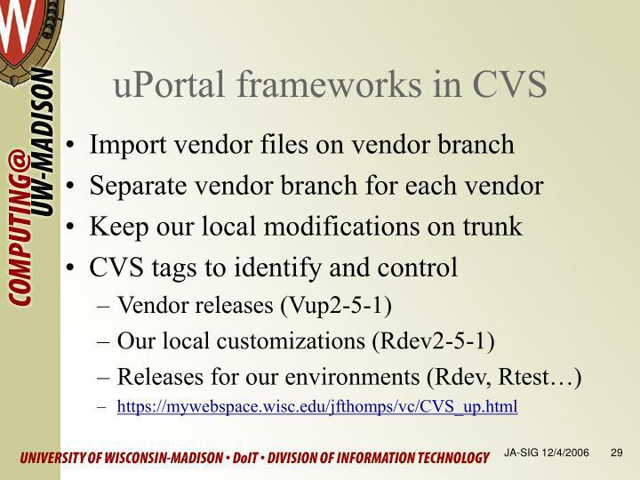 uPortal frameworks in CVS