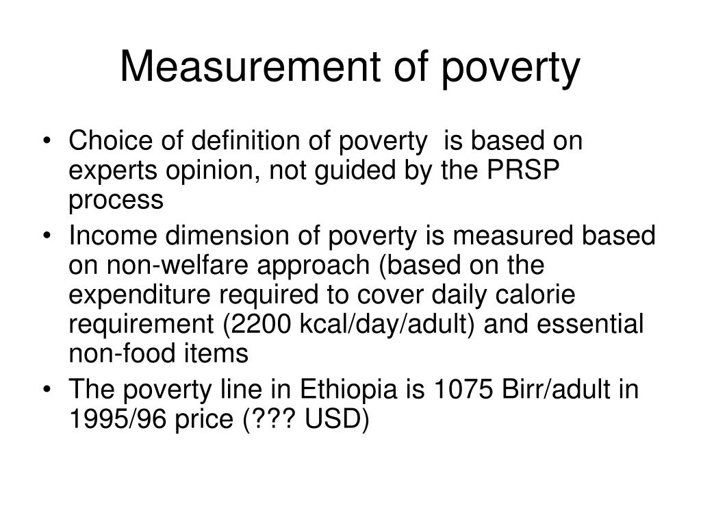 Measurement of poverty