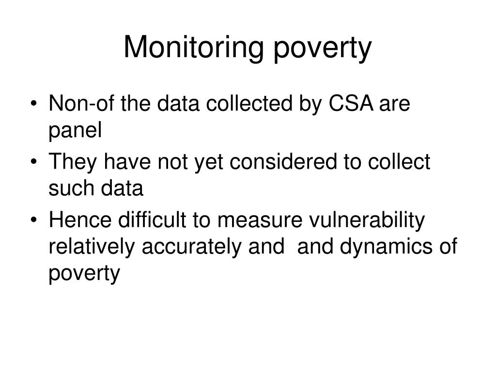 Monitoring poverty