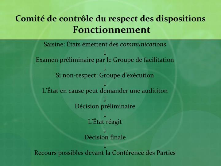 Comité de contrôle du respect des dispositions