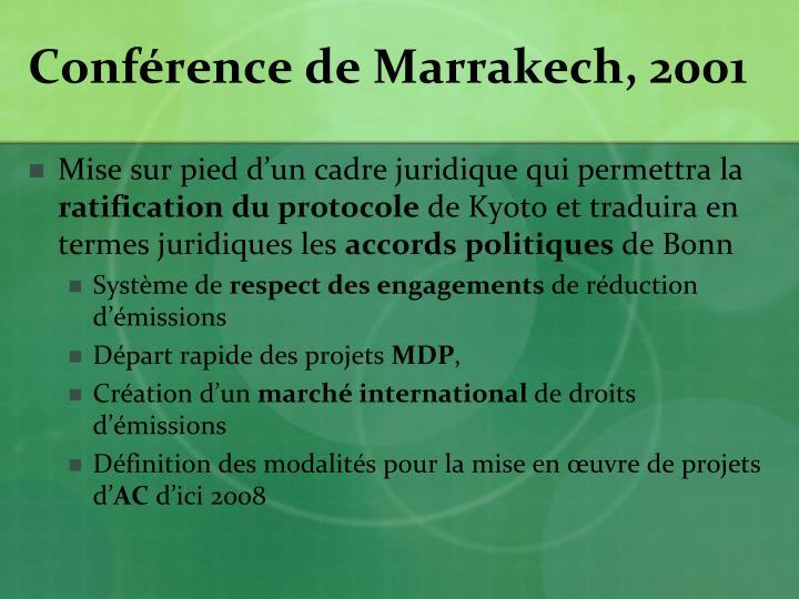 Conférence de Marrakech, 2001