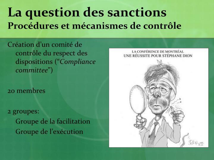La question des sanctions