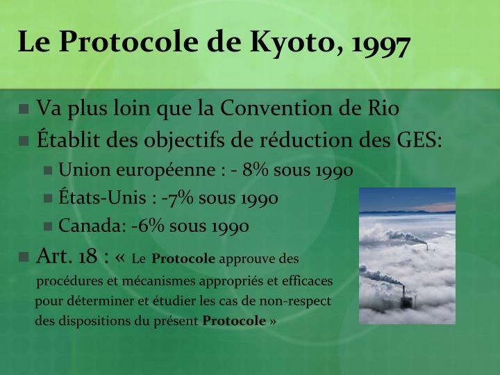 Le Protocole de Kyoto, 1997
