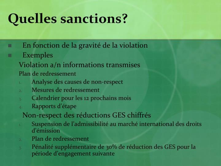 Quelles sanctions?